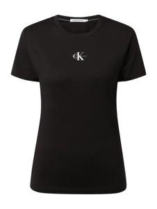 Czarny t-shirt Calvin Klein z okrągłym dekoltem z bawełny z krótkim rękawem