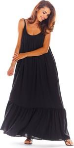 Czarna sukienka Awama maxi z tkaniny