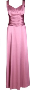 Różowa sukienka Fokus gorsetowa z dekoltem w kształcie litery v z satyny