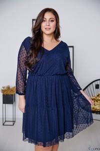 Sukienka tono.sklep.pl z dekoltem w kształcie litery v z długim rękawem z tiulu