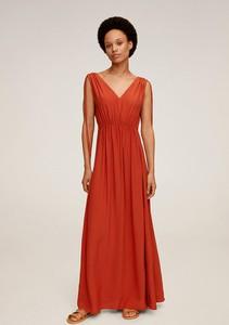 Sukienka Mango z tkaniny z dekoltem w kształcie litery v maxi