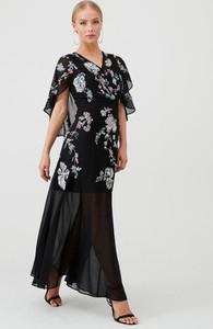 Czarna sukienka V by Very z dekoltem w kształcie litery v z krótkim rękawem maxi