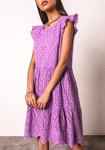 Fioletowa sukienka Latika z krótkim rękawem z dekoltem w kształcie litery v