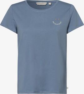 Niebieska bluzka Tom Tailor Denim z okrągłym dekoltem z bawełny
