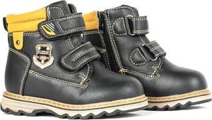 Czarne buty dziecięce zimowe Royalfashion.pl na rzepy dla chłopców
