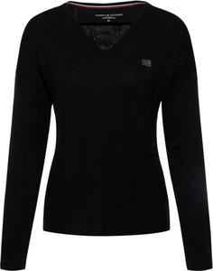 Czarna bluzka Tommy Hilfiger w stylu casual z długim rękawem