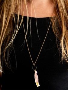 Lolita Feather Beading Necklace Gold Pink 2211