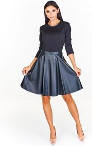Czarna sukienka Fokus z okrągłym dekoltem mini ze skóry