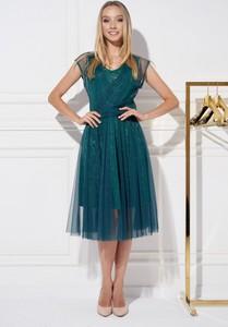 Zielona sukienka Ella Boutique z dekoltem w kształcie litery v z tiulu z krótkim rękawem