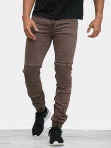 Brązowe jeansy Sixth June z bawełny