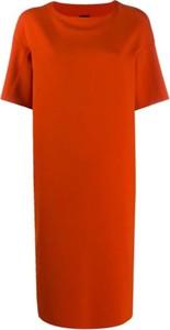 Czerwona sukienka Aspesi z neoprenu z krótkim rękawem