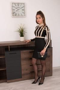 Czarna sukienka Butik Ecru z długim rękawem