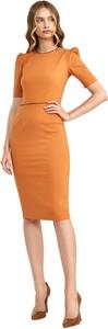 Pomarańczowa sukienka Nife z okrągłym dekoltem