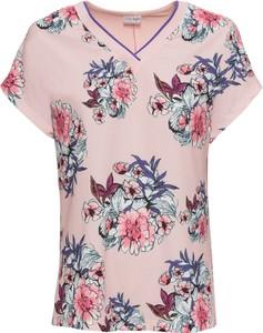 Różowy t-shirt bonprix BODYFLIRT z dekoltem w kształcie litery v z krótkim rękawem