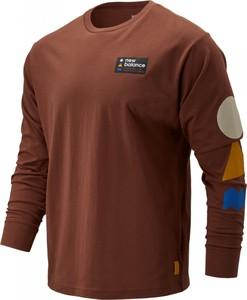 Brązowy t-shirt New Balance z bawełny w geometryczne wzory