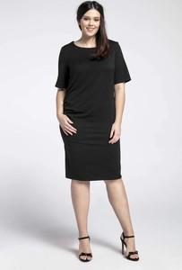 Czarna sukienka Nommo z okrągłym dekoltem midi