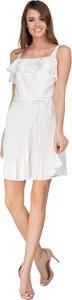 Sukienka Ptakmoda.com na ramiączkach z dekoltem w karo mini