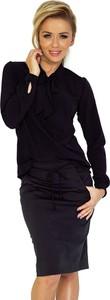 Granatowa bluzka Merg z długim rękawem ze sznurowanym dekoltem w stylu klasycznym