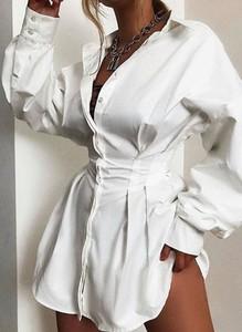 Sukienka Cikelly mini z długim rękawem z kołnierzykiem
