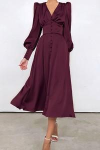 Sukienka IVET z długim rękawem z dekoltem w kształcie litery v maxi