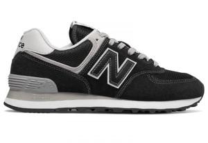 Czarne buty New Balance 574 z płaską podeszwą w sportowym stylu