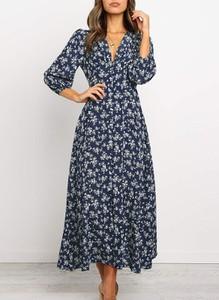 Niebieska sukienka Cikelly z długim rękawem