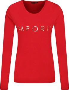 Czerwona bluzka Emporio Armani w stylu casual z okrągłym dekoltem