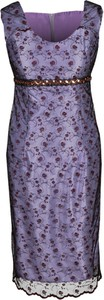 Fioletowa sukienka Fokus z okrągłym dekoltem midi
