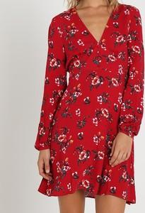 Czerwona sukienka Inna z długim rękawem mini koszulowa