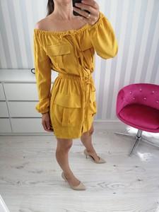 Żółta sukienka zooe.pl z bawełny mini