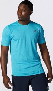 Niebieski t-shirt New Balance z krótkim rękawem z żakardu