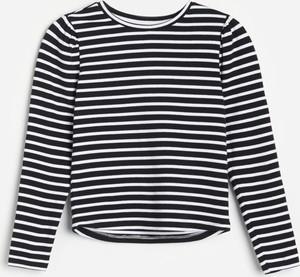 Czarna koszulka dziecięca Reserved dla dziewczynek w paseczki