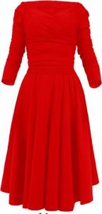 Granatowa sukienka Camill Fashion z długim rękawem z dekoltem w łódkę