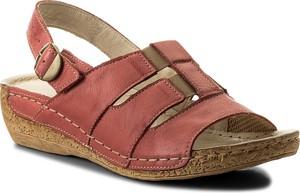 Czerwone sandały Łukbut ze skóry na koturnie