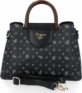 Czarna torebka David Jones na ramię w stylu glamour duża