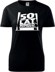 Czarny t-shirt TopKoszulki.pl z okrągłym dekoltem z bawełny w młodzieżowym stylu