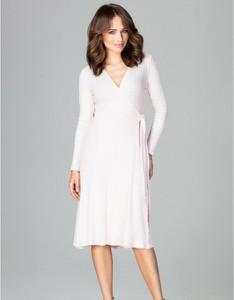 Różowa sukienka LENITIF z długim rękawem