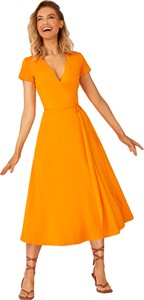 Pomarańczowa sukienka Kolorli z dzianiny wyszczuplająca