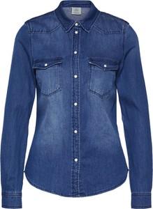 Niebieska koszula Vero Moda z kołnierzykiem z długim rękawem