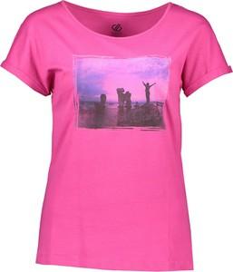 Różowa bluzka Dare 2b z okrągłym dekoltem z bawełny z krótkim rękawem