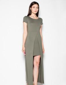Zielona sukienka Venaton z krótkim rękawem
