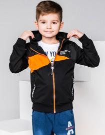 Ombre clothing bluza dziecięca rozpinana z kapturem kb015 - czarna