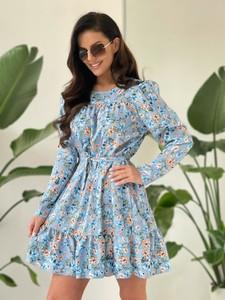 Niebieska sukienka Versada mini z długim rękawem z okrągłym dekoltem