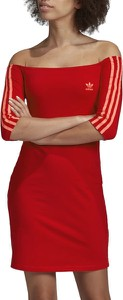 Czerwona sukienka Adidas z bawełny w sportowym stylu