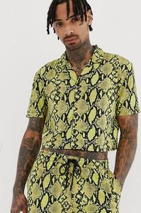 Żółta koszula Another Influence ze skóry z krótkim rękawem