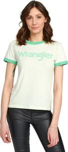Miętowy t-shirt Wrangler w młodzieżowym stylu z okrągłym dekoltem z krótkim rękawem