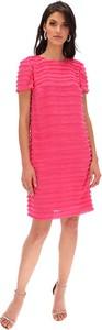 Różowa sukienka Lavard z krótkim rękawem z okrągłym dekoltem mini