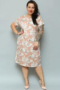 Sukienka KARKO midi z okrągłym dekoltem