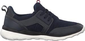 Granatowe buty sportowe S.Oliver sznurowane ze skóry ekologicznej