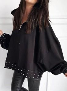 Czarna bluzka Cikelly w stylu casual z długim rękawem
